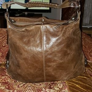 TANO Brown leather harness trim bag- x-large